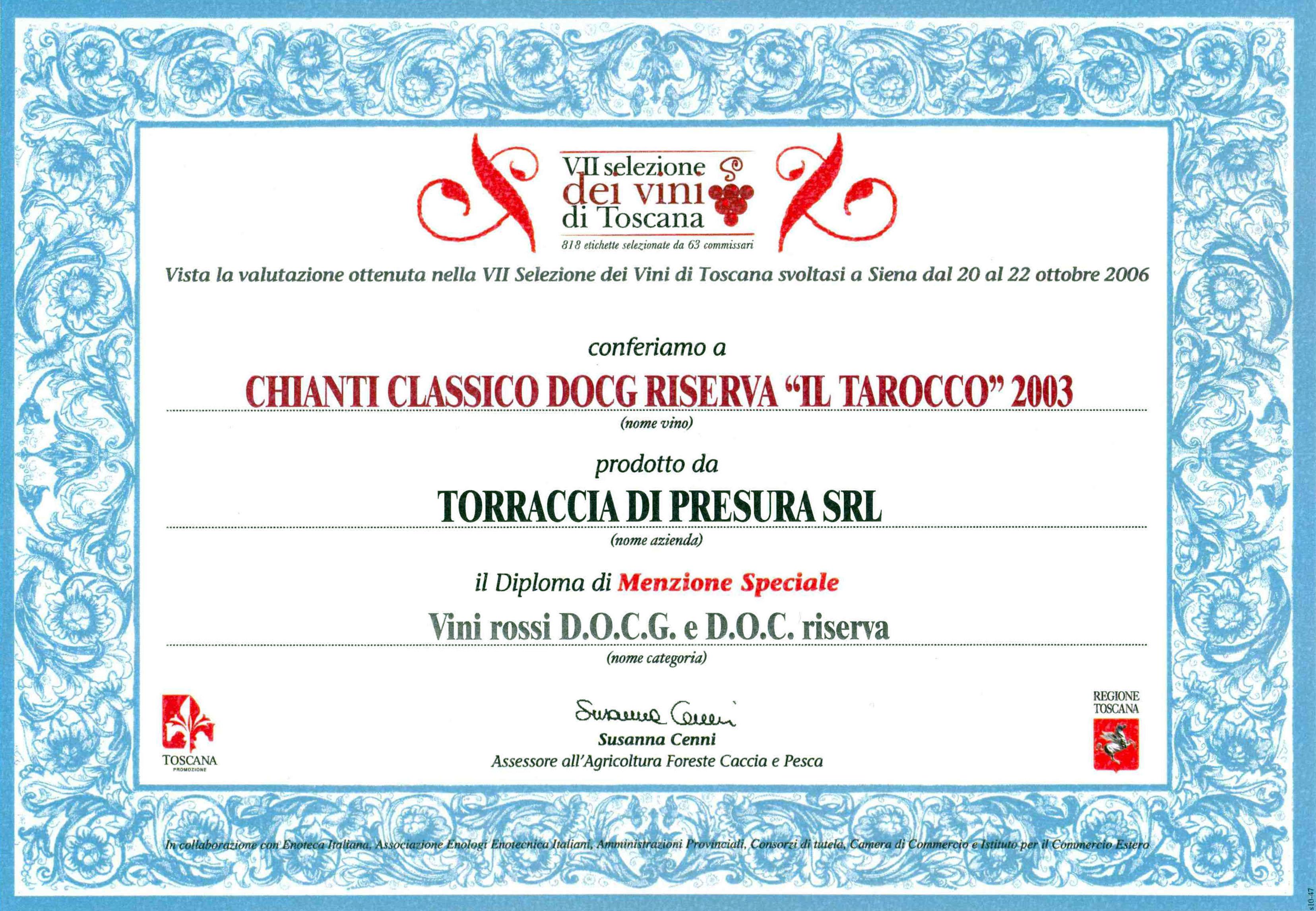 43 TARRIS 2003 Selez Vini 2006 2006